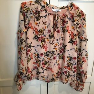 Rose + Olive peach floral blouse